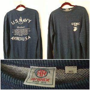 Vtg Mens AVIREX Knit Sweater 90s Hip Hop Spell Out